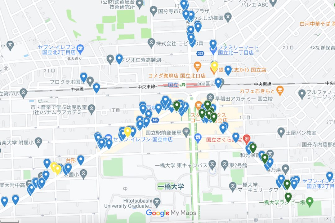 """国立の飲食店の""""NOW""""営業時間がわかるマップが完成!"""